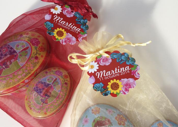 Etiquetas Regalos BAUTIZO Floral Personalizada valencia