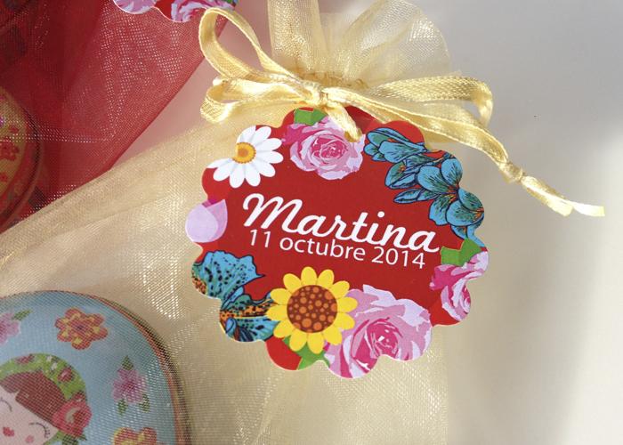 Etiquetas Regalos BAUTIZO Floral Personalizada