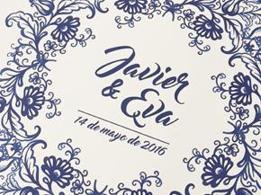 Invitaciones boda florales azules