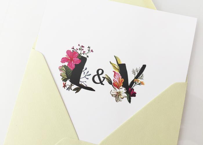 Invitaciones Boda Iniciales Florales