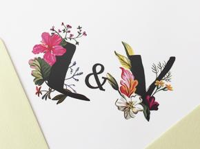 Invitaciones Boda Iniciales Florales L&V