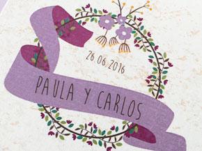 Invitaciones Boda Vintage lila