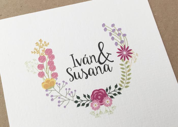 invitación boda vintage floral