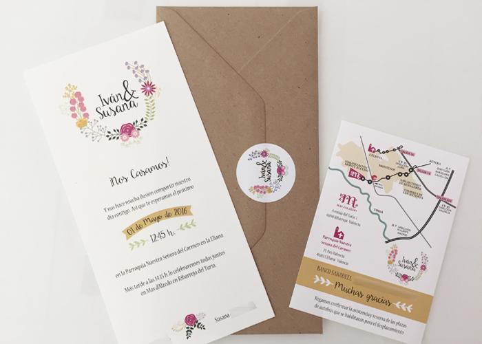 invitación boda vintage floral kraft