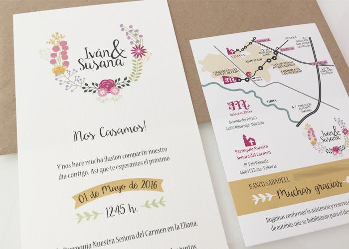 invitación boda vintage floral papel crema