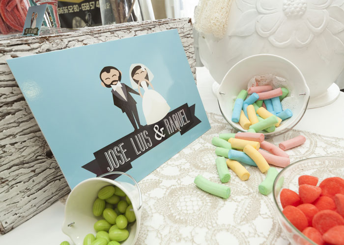 Invitaciones Boda con caricaturas candy bar