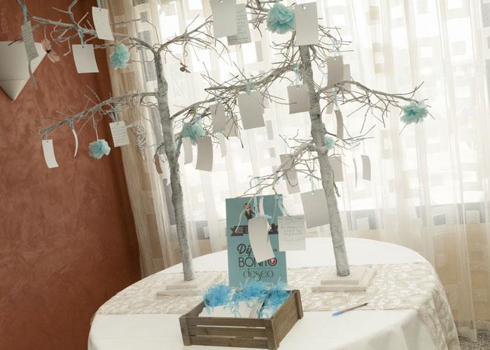 Invitaciones Boda con caricaturas árbol deseos