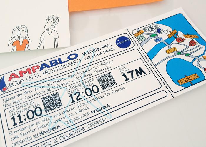 Invitación Boda Caricaturas tarjeta embarque