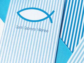 Recordatorio y punto de libro COMUNIÓN rayas azul y blanco