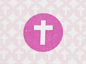 Recordatorio COMUNIÓN cruz rosa